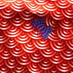 Hermes Red Bateau Fleuri Printed Silk Pocket Square