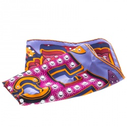 Hermes Multicolor Electrique Printed Silk Pocket Square
