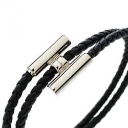 Hermes Tournis Tresse Black Leather Palladium Plated Bracelet