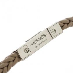 Hermes Joker Beige Swift Leather Palladium Plated Bracelet 19cm