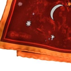 Hermes Red L'annee des Etoiles Printed Silk Pocket Square