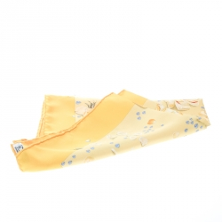 Hermes Yellow Floral Printed Silk Pocket Square