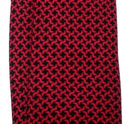 Hermes Magenta Pink and Black Irregular Houndstooth Print Silk Tie