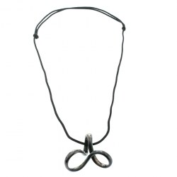 Hermes Twisted Silver Pendant Black Cord Necklace