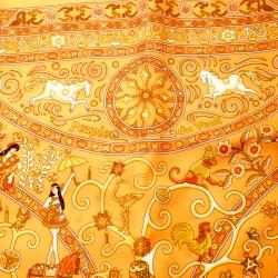 Hermes Orange Peuple Du Vent Printed Silk Pocket Square