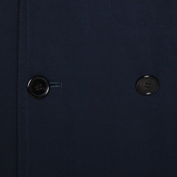 Hermes Navy Blue Wool Reversible Double Breasted Coat L