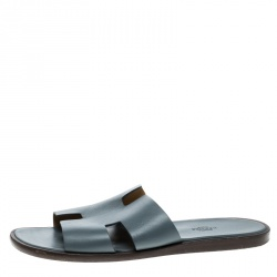 Hermes Grey Leather Izmir Sandals Size 43