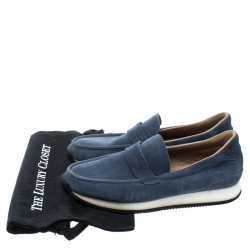Hermes Blue Suede Injection Loafer Sneakers Size 41