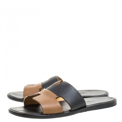 Hermes Two Tone Textured Leather Izmir Sandals Size 42.5