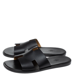 Hermes Black Leather Izmir Slide Sandals Size 45
