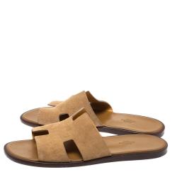 Hermes Beige Suede Izmir Sandals Size 43