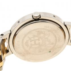 Hermes Cream Gold Tone Stainless Steel Clipper Men's Wristwatch 30 mm