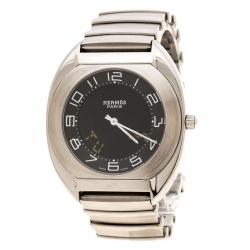 3203fa3bf Hermes Black Stainless Steel Espace Digital ES1.710 Men's Wristwatch 38 mm