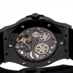 Hublot Skeleton Black Ceramic Rubber Leather Classic Fusion Ultra Thin 515.CM.0140.LR Men's Wristwatch 45 mm