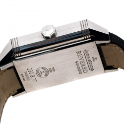 Jaeger LeCoultre Silver White Stainless Steel Reverso Squadra 230.8.77 Men's Wristwatch 35 mm