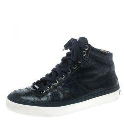 5fe749123991 Jimmy Choo Blue Crocodile Embossed Leather Belgravia High Top Sneakers Size  40.5