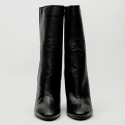 Jimmy Choo Black Leather Mid Calf Boots Size 39