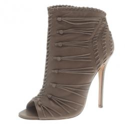 ae7efff238a Jimmy Choo Grey Leather and Suede Gana Ankle Booties Size 38.5
