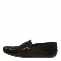 J.M.Weston Black Suede Penny Loafers Size 42.5
