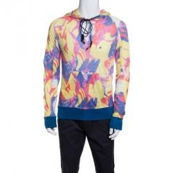 John Galliano Multicolor Printed Rib Trim Hooded Linen Sweatshirt L