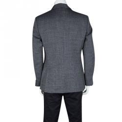 John Varvatos Navy Blue and White Wool Regular Fit Blazer L