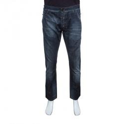 c7d8f462cb7cd Just Cavalli Indigo Dark Wash Faded Effect Distressed Denim Jeans XXL
