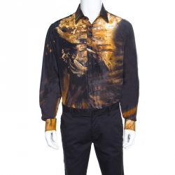 3900db30ee02b Just Cavalli Multicolor Silk Abstract Printed Button Front Shirt L