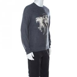 Just Cavalli Grey Wool Lion Print Sweater M