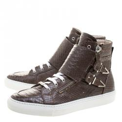 Le Silla Brown Faux Python Leather High Top Sneakers Size 41.5