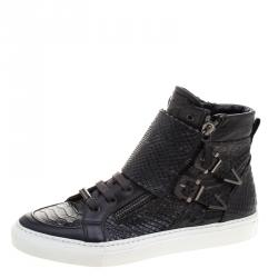 Le Silla Black Faux Python Leather High Top Sneakers Size 39