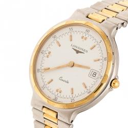Longines White Two-Tone Titanium Conquest L161.2 Men's Wristwatch 32 mm