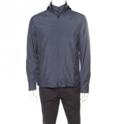 Loro Piana Midnight Blue Silk Rain System Hooded Jacket M