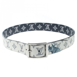 f7173048b302 Louis Vuitton White Blue Monogram Savane Canvas Chapman Brothers Reverso  Belt Size 95 cm