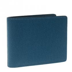 Louis Vuitton Blue Taiga Leather Bifold Wallet