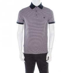 3fe4bd563b34 Louis Vuitton Navy Blue and White Horizontal Striped Polo T-Shirt S