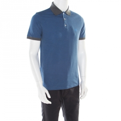 37f01862 Louis Vuitton Blue and Grey Horizontal Striped Polo T-Shirt M