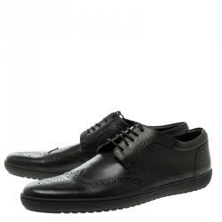 Louis Vuitton Black Brogue Leather Wingtip Lace Up Derby Size 43.5