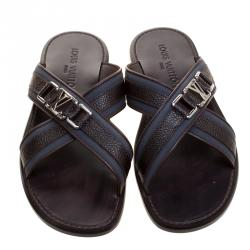 Louis Vuitton Two Tone Leather and Fabric Criss-Cross Sandals Size 41.5