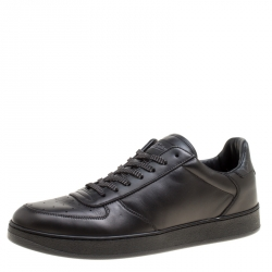 132112f2f1c3 Louis Vuitton Black Leather and Monogram Canvas Rivoli Sneakers Size 41