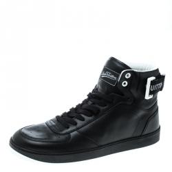 14eb7bd00bc7 Louis Vuitton Black Leather Rivoli High Top Sneakers Size 40.5