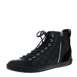 be129f9351ae Louis Vuitton Damier Graphite Fabric and Suede Trim Zip Up High Top Sneakers  Size 43