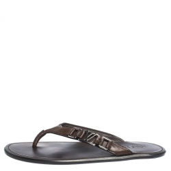 Louis Vuitton Brown Leather Hamptons Thong Sandals Size 41.5