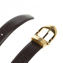 Louis Vuitton Burgundy Utah Leather Classique Belt 90 CM