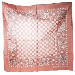 Louis Vuitton Brick Orange Paisley Print Cotton On the Road Bandana Scarf