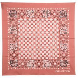 Louis Vuitton Brick Orange Paisley Print Cotton On the Road Bandana Scarf