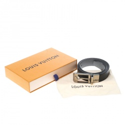 Louis Vuitton Black/Grey Taiga Leather Slender Reversible Belt 95cm