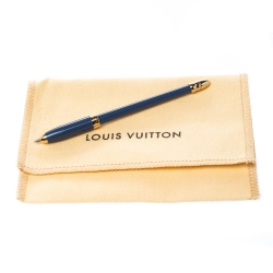 Louis Vuitton Blue Enamel Gold Tone Slim Ballpoint Pen