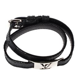Louis Vuitton Damier Graphite Silver Tone Sign It Wrap Bracelet