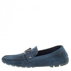 73fa463dae69 Louis Vuitton Blue Suede Monte Carlo Loafers Size 41
