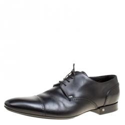5856c85f10e7 Louis Vuitton Black Leather Lace Up Derby Size 44.5